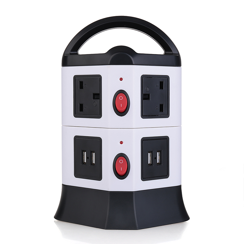 3M UK Plug Strip 2 Layers 6 Outlets 4-Port USB Vertical Power Charging Socket
