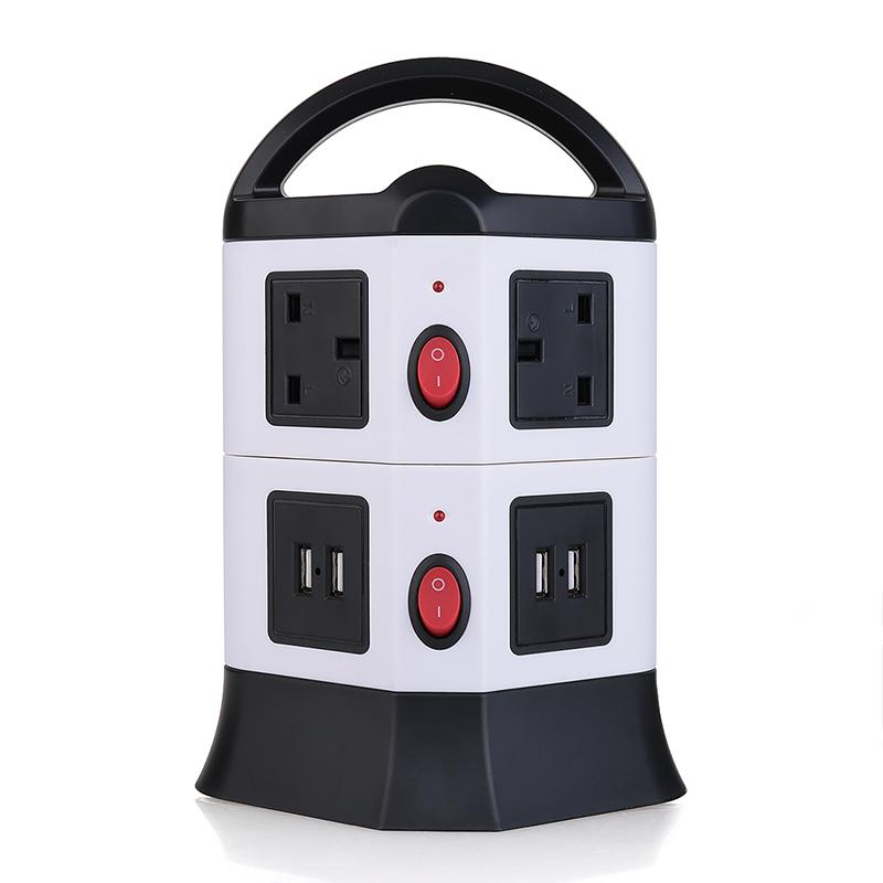 3M UK Plug Strip 2 Layers 6 Outlets 4-Port USB Vertical Power Charging Socket