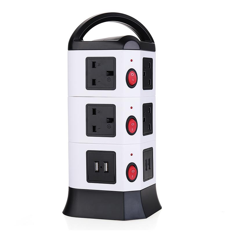 3M UK Plug Strip 3 Layers 10 Outlets 4-Port USB Vertical Power Charging Socket