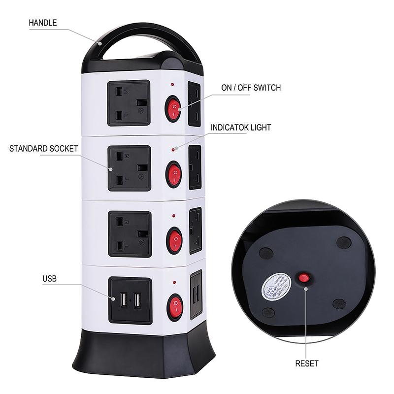 3M UK Plug Strip 4 Layers 14 Outlets 4-Port USB Vertical Power Charging Socket