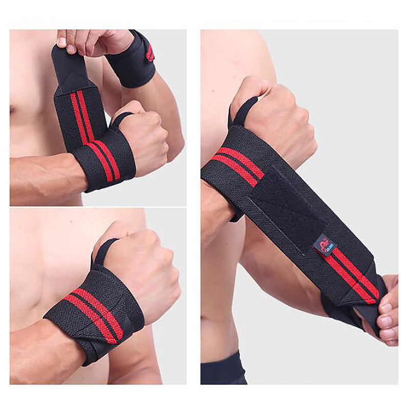 1 Pair Adjustable Weight Lifting Wrist Wraps Straps Supports - Black + Red