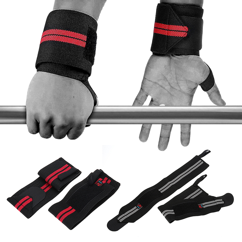 1 Pair Adjustable Weight Lifting Wrist Wraps Straps Supports - Black + Grey