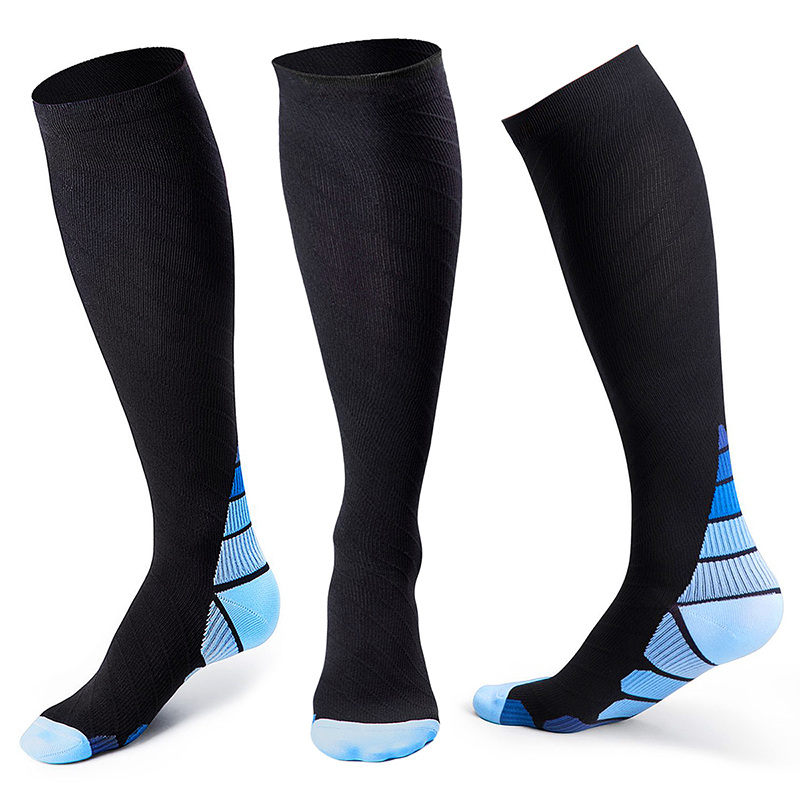 2 Pairs Compression Socks Long Sports Running Sock for Men Women Size L