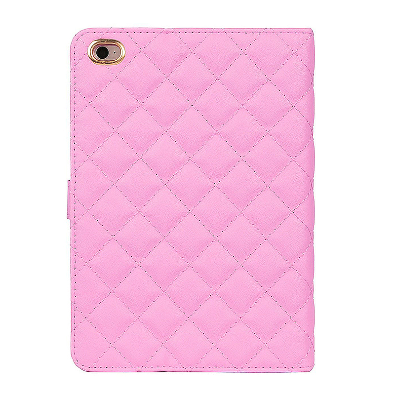Luxury Bling Crown Quilted Grid Case Smart Stand Up Soft PU Leather Cover for iPad Mini 1/2/3 - Pink