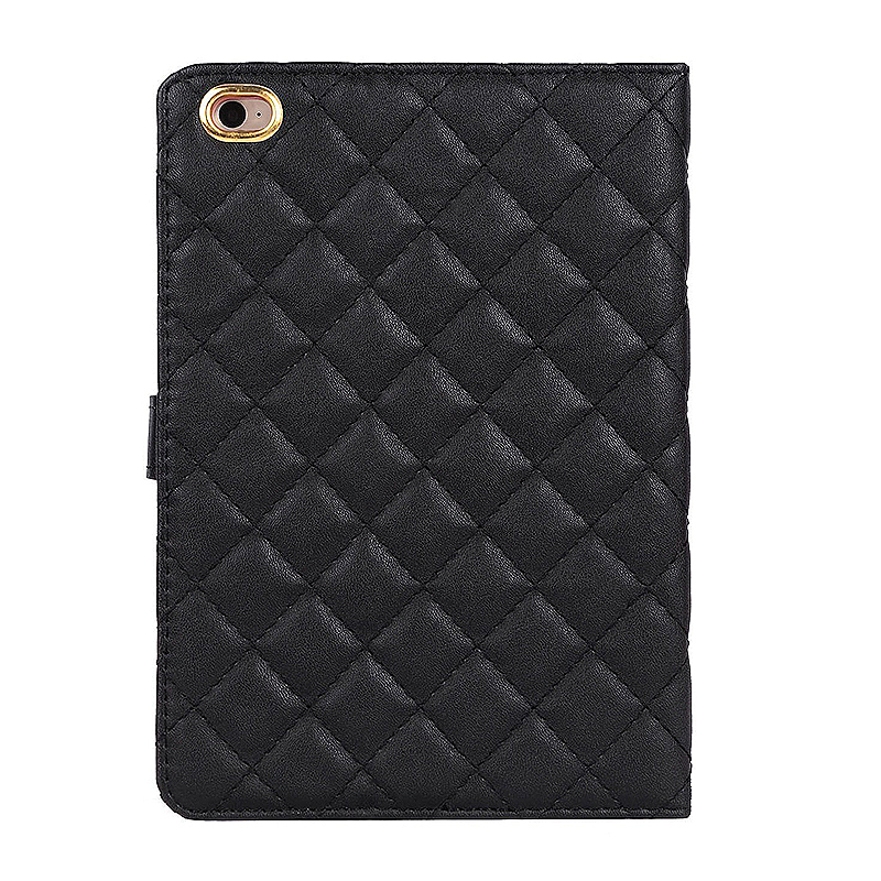 iPad 2/3/4 Crown Bling Diamond Grid PU Leather Case Smart Stand Up Shockproof Cover - Black
