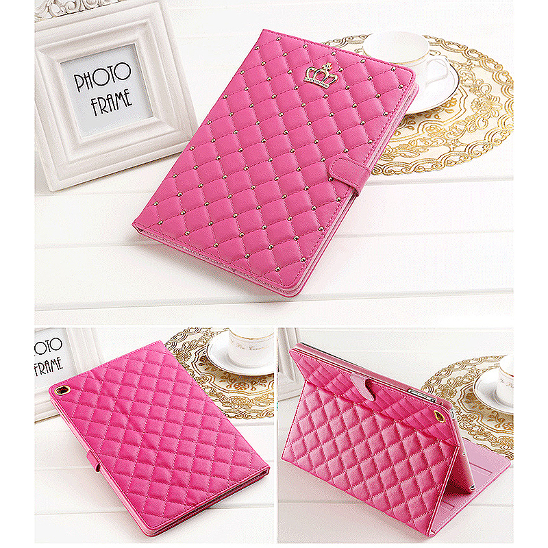 Luxury Crown Bling Glitter Quilted PU Leather Protective Case Cover for iPad Air/Air2 - Rose Red