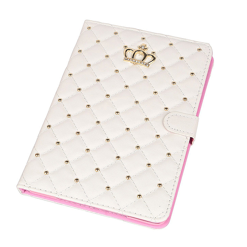 iPad 9.7 2017 Smart PU Leather Case Luxury Crown Bling Quilted Grid Cover Shell - White