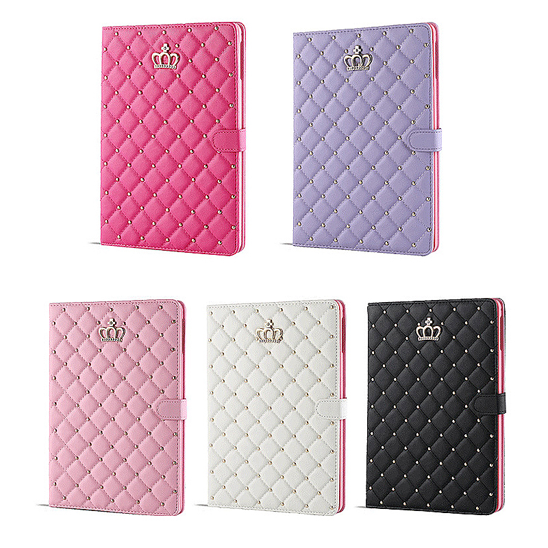 iPad 9.7 2017 Smart PU Leather Case Luxury Crown Bling Quilted Grid Cover Shell - Rose Red