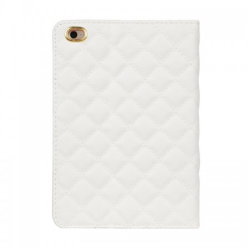 Luxury Crown Bling Glitter Quilted PU Leather Protective Case Cover for iPad Air/Air2 - White