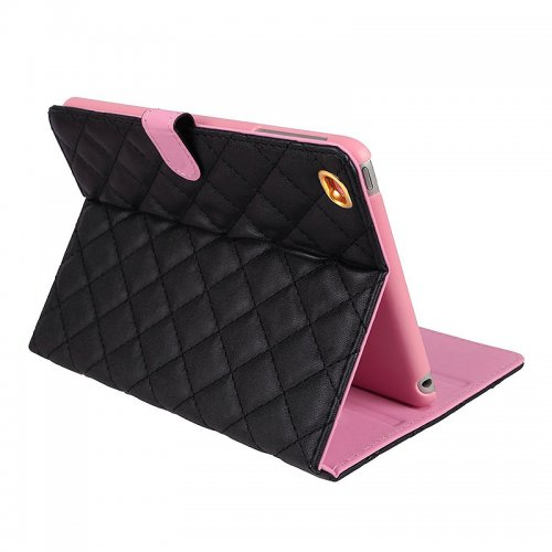 Luxury Bling Crown Quilted Grid Case Smart Stand Up Soft PU Leather Cover for iPad Mini 1/2/3 - Black