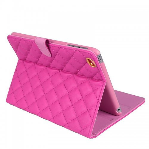 iPad 2/3/4 Crown Bling Diamond Grid PU Leather Case Smart Stand Up Shockproof Cover - Rose Red