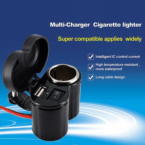 Waterproof Motorcycle Motorbike USB Mobile Phone GPS Cigarette Lighter Charger