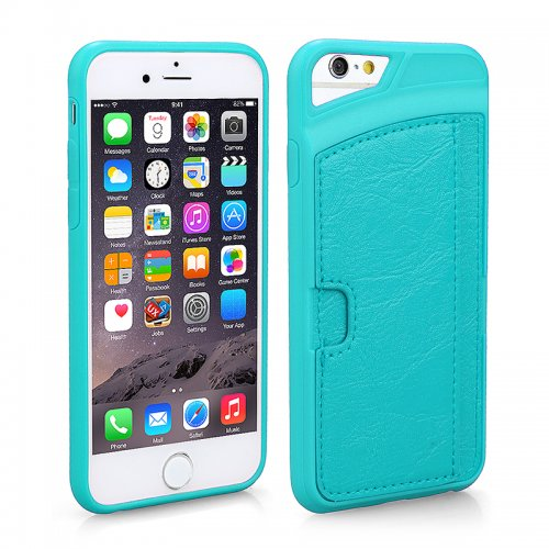 TPU PU Leather Card Holder Phone Back Cover Case for Apple iPhone 6S - Blue
