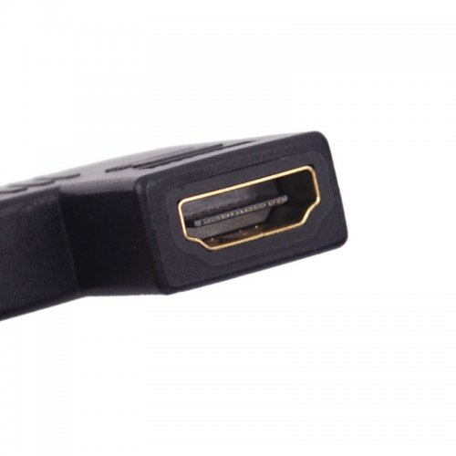 Flat 90 Degree Right Angle Male HDMI Port to Female Adapter Connector Gold Converter