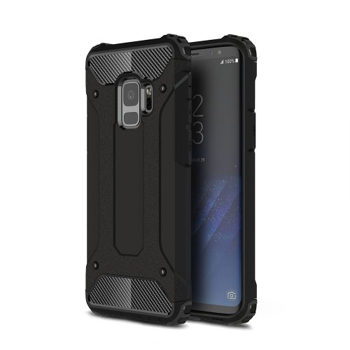 Hybrid Rugged Armor Dual Layer Case Soft TPU Bumper Shockproof Back Cover for Samsung Galaxy S9 - Black