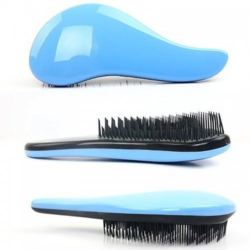 Portable Anti-static Salon Hair Brush Comb Detangling Styling Hairbrush - Blue