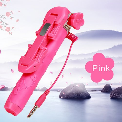 Super Mini Flower Pattern Selfie Stick Monopod Wired Remote Phone Camera Holder - Pink