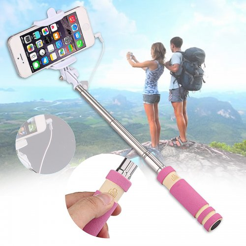 Super Mini Wired Foldable Selfie Stick Monopod - Pink