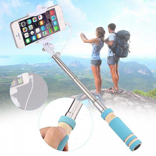 Super Mini Wired Foldable Selfie Stick Monopod - Blue