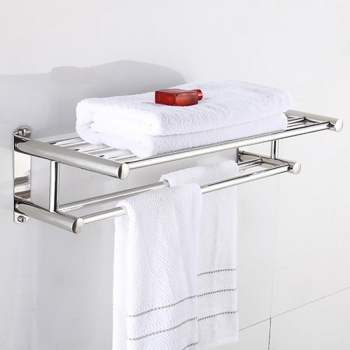 60CM Double Stainless Steel Towel Holder Bathroom Rail Bar Rack Wall Mounted
