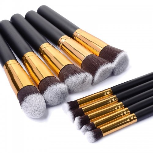 10pcs Kabuki Style Professional Makeup Brush Set Kit -Black Gold
