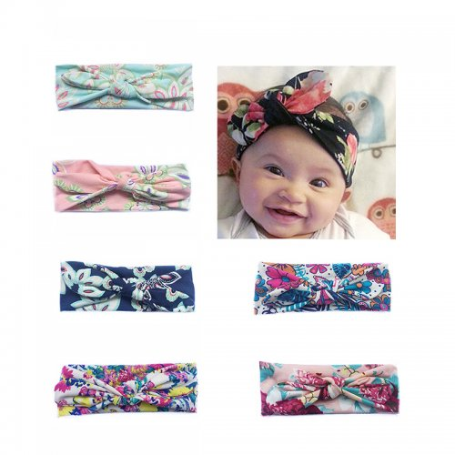 10pcs Newborn Baby Cute Big Bow Tie Headband Floral Pattern Wide Hair Strap Hairband Assorted Colours