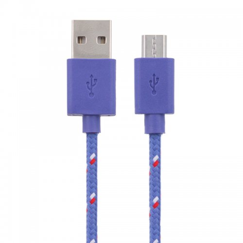 1M Length Micro USB Knitted Power & Data Cable- Purple