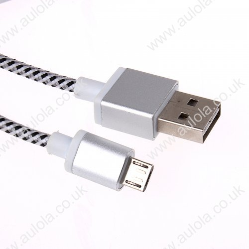 1m Micro USB Braid Weave Data Sync Charging Cable for Samsung HTC - White
