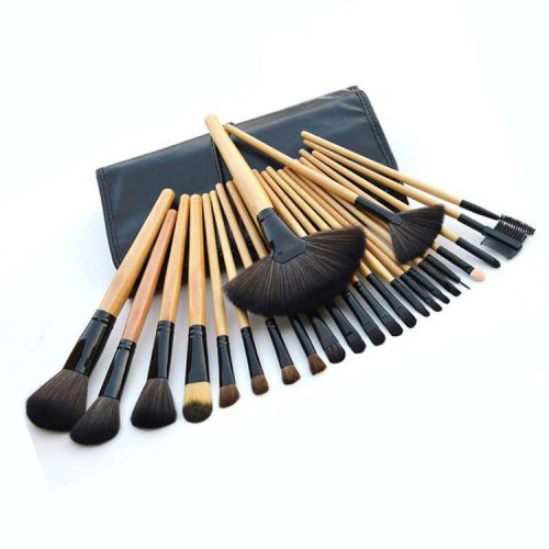 24pcs Wooden Handle Professional Makeup Brushes Set Kit