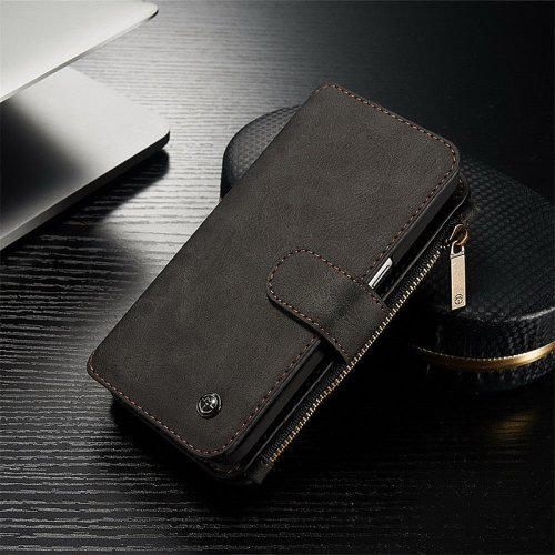 2-in-1 Genuine Leather Wallet Purse Flip Case Cover for Samsung S7 - Black