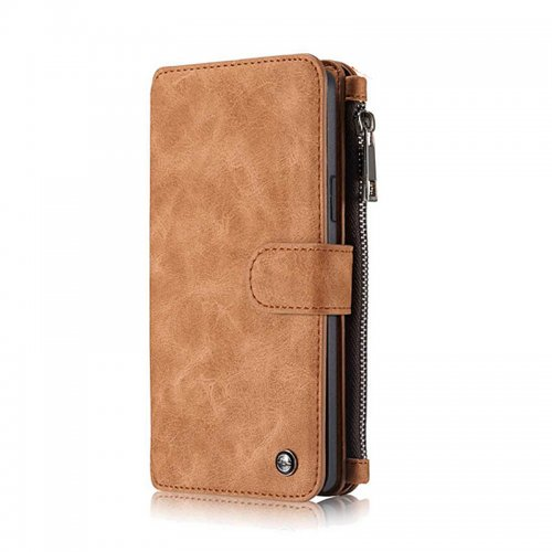 2-in-1 Genuine Leather Wallet Purse Flip Case Cover for Samsung S7 - Brown