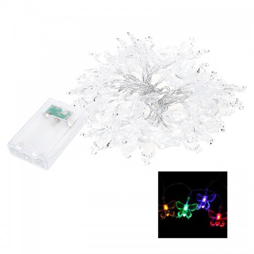 30 LED Light String 3M Butterfly Fiber Optic Fairy String Outdoor Garden Lights