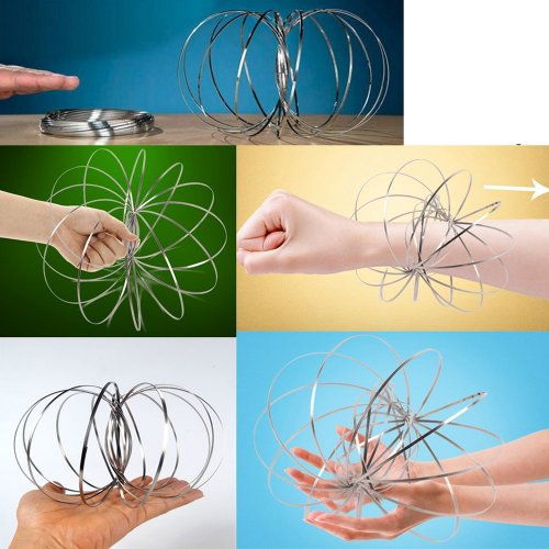 Flow Rings Arm Kinetic Spring Toy 3D Shaped Sculpture Ring Magic Interactive Flowtoys - Silver