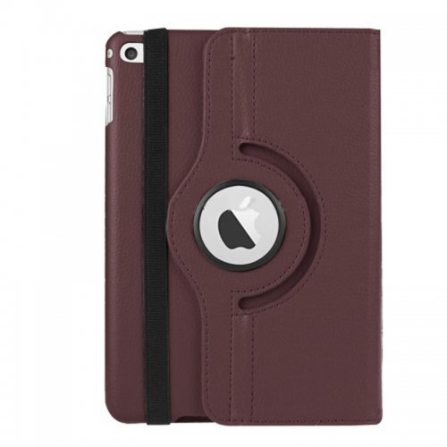 360 degree Rotating PU Leather Flip Stand Case Cover Skin for iPad Mini 1/2/3 - Brown