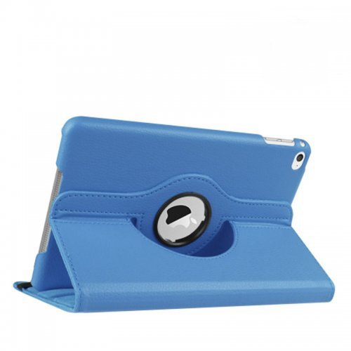 360 degree Rotating PU Leather Flip Stand Case Cover Skin for iPad Mini 4 - Blue