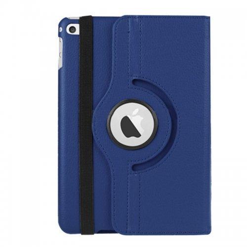 360 degree Rotating PU Leather Flip Stand Case Cover Skin for iPad Mini 4 - Dark Blue