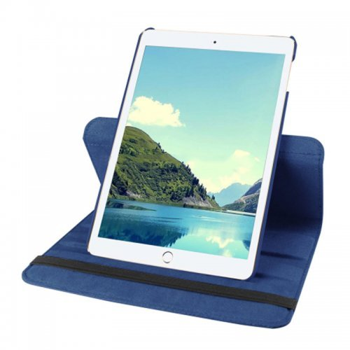 360 degree Rotating PU Leather Flip Stand Case Cover Skin for iPad Mini 1/2/3 - Dark Blue