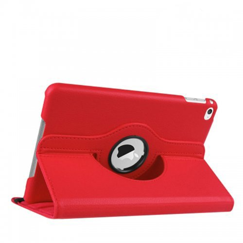 360 degree Rotating PU Leather Flip Stand Case Cover Skin for iPad Mini 1/2/3 - Red