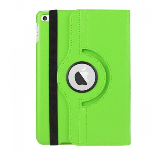 360 degree Rotating PU Leather Flip Stand Case Cover Skin for iPad Mini 4 - Green