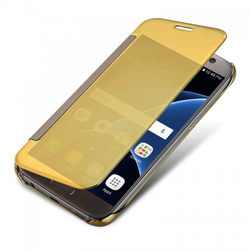 Mirror Flip Smart Case Cover for Samsung Galaxy S6 G9200 - Gold
