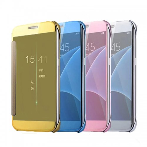 Mirror Flip Smart Case Cover for Samsung Galaxy S6 G9200 - Silver