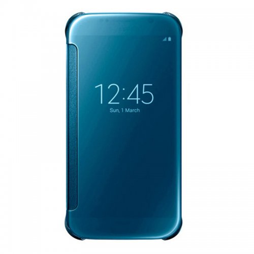 Mirror Flip Smart Case Cover for Samsung Galaxy S6 G9200 - Light Blue