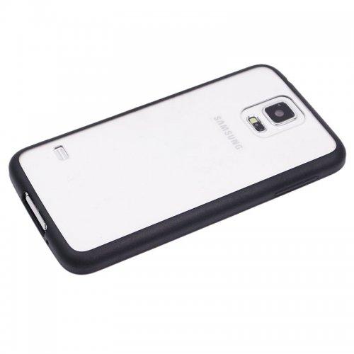 Transparent Back Gel Case Cover for Samsung S5- Black