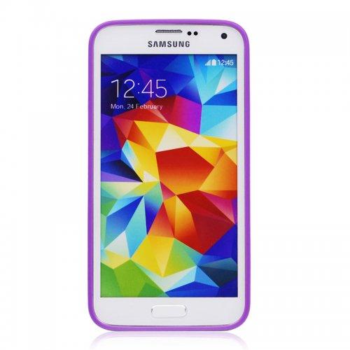 Transparent Back Gel Case Cover for Samsung S5- Purple