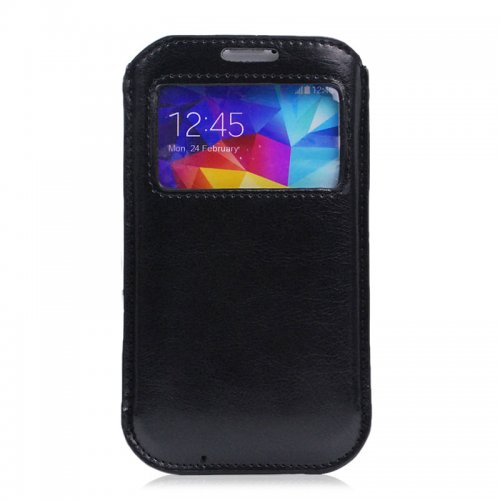 Visual Time Pull Tab Slide in Leather Sleeve Pouch Case for Samsung S5- Black
