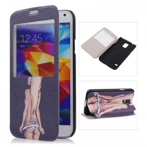 Sexy Girl PU Leather Stand Case with View Window for Samsung Galaxy S5
