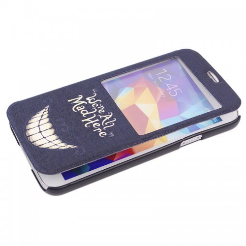 We Are All Mad Here PU Leather Stand Case with View Window for Samsung Galaxy S5