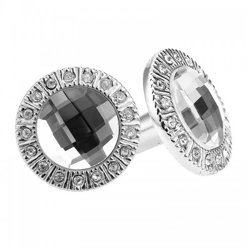 G019119 Crystal Cut Glass Circle Ball Drawer & Cupboard Pulls Passage Door Knobs - Silver