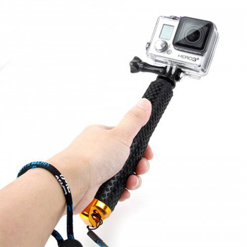 Handheld Extendable Pole Monopod Selfi Sticker with Screw for GoPro Hero 4/3+/3/2 - Golden