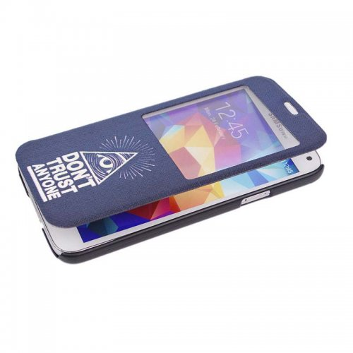 DO NOT TRUST ANYONE PU Leather Stand Case with View Window for Samsung Galaxy S5